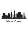 New York City skyline black and white silhouette vector image vector image