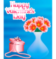 card with flowers and a necklace with a Happy vector image