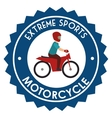 motorcycle extreme sport badge design vector image