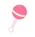 Pink baby rattle vector image