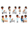 set of doctor characters and patients vector image