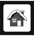 Small snowy cottage icon simple style vector image