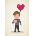 Loving boy with bouquet of flowers in hands and vector image