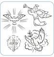 Angels and doves - vector image vector image