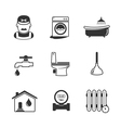 Plumbing and engineering linear icons vector