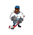 Cartoon ice hockey player with thumb up vector image