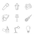light source icon set outline style vector image