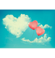 Retro Holiday background with heart shaped cloud vector image