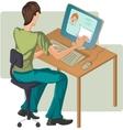 Boy at computer vector image