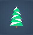 christmas tree icon with snow vector image