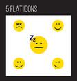flat icon emoji set of joy smile asleep and vector image