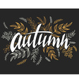 hand lettering label - autumn - with doodle vector image