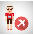 tourist man with camera and airplane vector image