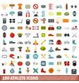 100 athlete icons set flat style vector image