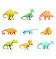 Dinosaurus Retro Cartoon Characters Icons vector image
