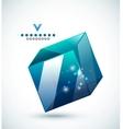 Modern 3d glass cube design template vector image
