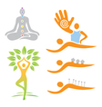 Icons yoga massage alternative medicine vector image