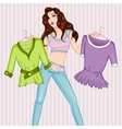 Fashion of pondered woman vector image