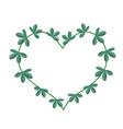 Green Leaves in A Heart Shape Wreath vector image