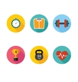 Healthy lifestyle flat round icon set vector image