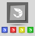 Shrimp seafood icon sign on original five colored vector image