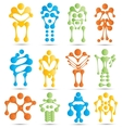 Stylized robots and robotics icon set vector image