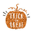 trick or treat pumpkin glitter silhouette vector image
