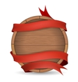 Wooden barrel wrapped in red ribbon vector image