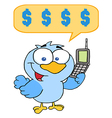 Blue Bird With Cell Phone And Speech Bubble vector image