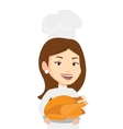 Chief cook holding roasted chicken vector image