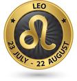 Leo zodiac gold sign leo symbol vector image