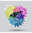 watercolor paint with abstract doodles vector image