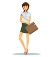 Modern woman listening to a portable music player vector image vector image