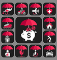 All Insurance and umbrella symbols vector image vector image