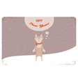 Christmas card of winter cat or a fox with scarf vector image