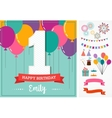 Happy Birthday greeting card with party elements vector image vector image