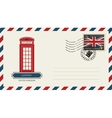 envelope with London phone booth vector image