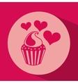 heart red cartoon cupckae chips icon design vector image
