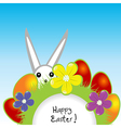 Easter card with bunny and eggs vector image
