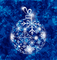Christmas ball made in snowflakes on grunge vector image