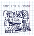 hand draw computer circuit board on paper vector image