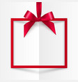 Red gift box frame with silky bow and ribbon on vector image vector image