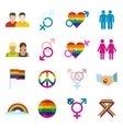 Gays flat icons set vector image