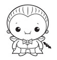 black and white cartoon cute dracula mascot vector image