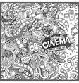 Cartoon doodles cinema frame design vector image