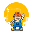 funny smiling builder vector image