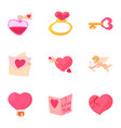 happy valentine day objects icons set vector image