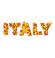 Italy text from slice of pizza Appetizing text of vector image