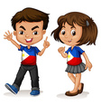 Philippines boy and girl greeting vector image