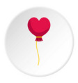 pink heart balloon icon circle vector image
